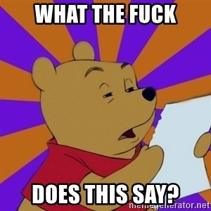 Skeptical Pooh - what the fuck does this say?