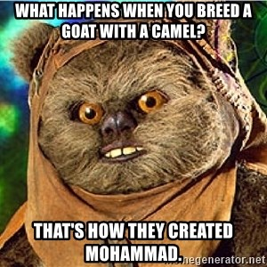 Rape Ewok - what happens when you breed a goat with a camel? that's how they created mohammad.