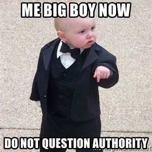 gangster baby - Me big boy now Do not question authority