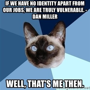 Chronic Illness Cat - If we have no identity apart from our jobs, we are truly vulnerable. - Dan Miller  Well, that's me then.