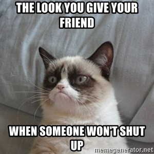 Grumpy cat 5 - The look you give your friend when someone won't shut up