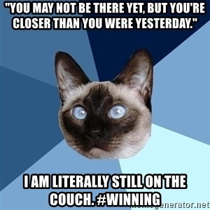 "Chronic Illness Cat - ""You may not be there yet, but you're closer than you were yesterday."" I am literally still on the couch. #Winning"