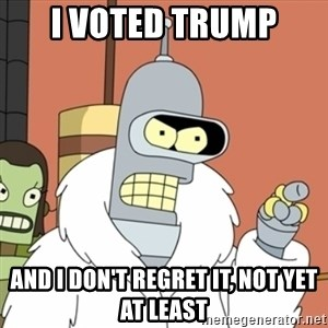 bender blackjack and hookers - I voted trump and i don't regret it, not yet at least