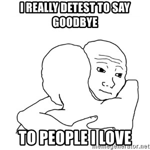 I know that feel bro blank - I really detest to say goodbye to people I love