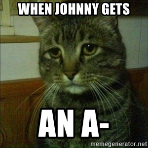 Depressed cat 2 - When johnny gets an A-