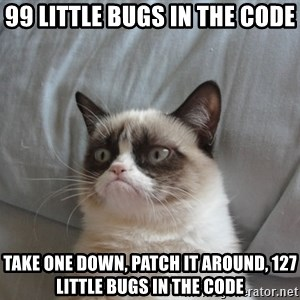 Grumpy cat 5 - 99 little bugs in the code Take one down, patch it around, 127 little bugs in the code