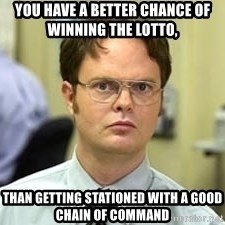 Dwight Shrute - You Have A Better Chance Of Winning The LOTTO,   Than Getting Stationed With A Good Chain of command