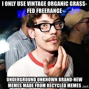 Super Smart Hipster - I only use vintage organic grass-fed freerange underground unknown brand-new memes made from recycled memes