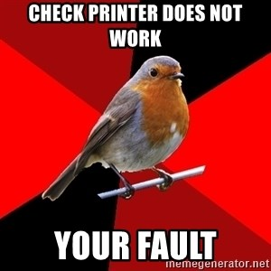 Retail Robin - Check printer does not work Your fault