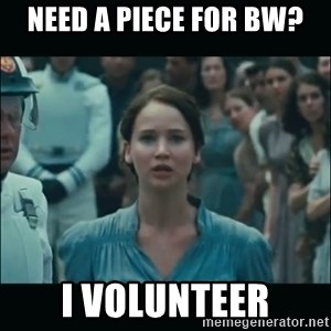 I volunteer as tribute Katniss - need a piece for bw? I volunteer