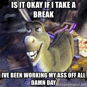 Donkey Shrek - is it okay if i take a break ive been working my ass off all damn day