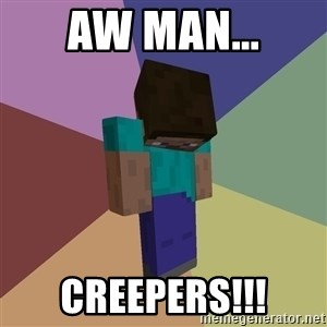 Depressed Minecraft Guy - AW man... Creepers!!!