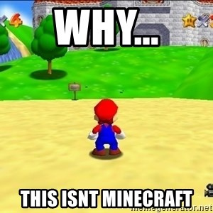 Mario looking at castle - why... this isnt minecraft