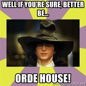 Harry Potter Sorting Hat - Well if you're sure, better be... Orde House!