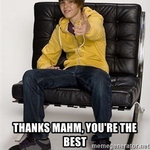 Justin Bieber Pointing -  Thanks Mahm, You're the best