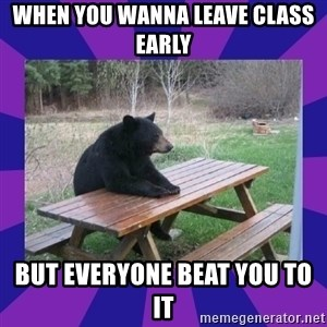 waiting bear - When you wanna leave class early  But everyone beat you to it