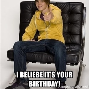 Justin Bieber Pointing -  I beliebe it's your birthday!