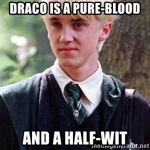 Draco Malfoy - Draco is a Pure-blood and a half-wit