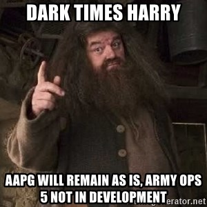 Hagrid - dark times harry AAPG will remain as is, Army Ops 5 not in development