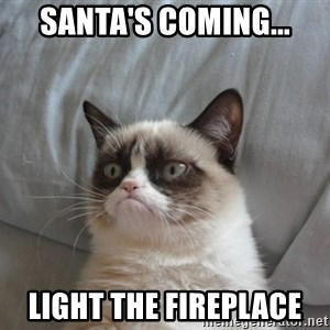 Grumpy cat 5 - santa's coming... light the fireplace