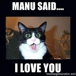 shocked cat - manu said.... i love you