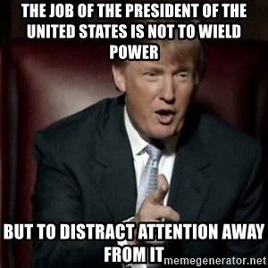 Donald Trump - the job of the president of the UNITED STATES is not to wield power But to distract attention away from it
