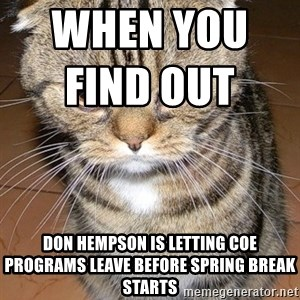 angry cat 2 - When you find out                         Don Hempson is letting COE programs leave before spring break starts