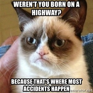 Grumpy Cat  - weren't you born on a highway? because that's where most accidents happen