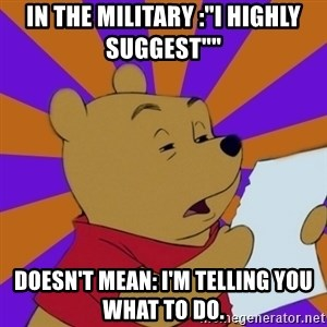 """Skeptical Pooh - In the military :""""i Highly suggest""""""""  Doesn'T mean: i'm telling you what to Do."""