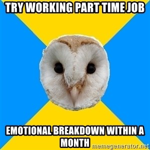 Bipolar Owl - Try Working PART TIME job Emotional Breakdown Within A month