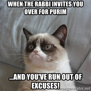 Grumpy cat 5 - When the rabbi invites you over for purim ...and you've run out of excuseS!