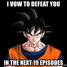 goku - I vow to defeat you in the next 19 episodes