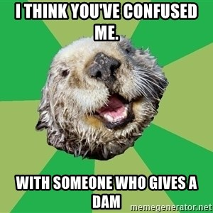 Ocd Otter - I think you've confusEd me. With someone who gives a dam