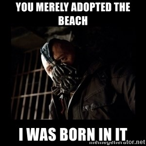 Bane Meme - You merely adopted the beach  i was born in it