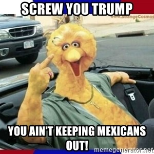 Big Bird Middle Finger - Screw y0u trump You ain't keeping mexicans out!