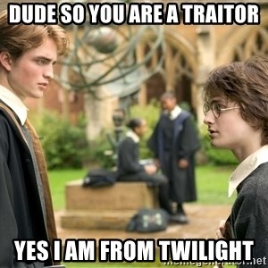 Harry Potter  - dude so you are a traitor yes i am from twilight