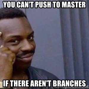 smart nigga - You can't push to master if there aren't branches