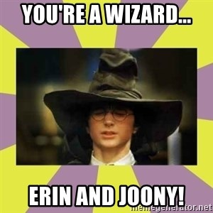 Harry Potter Sorting Hat - You're a WIZARD... ERIN and JOONY!