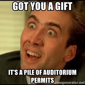 You Don't Say Nicholas Cage - got you a gift it's a pile of auditorium permits