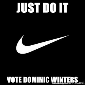 Nike swoosh - Just do it Vote Dominic winters