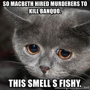 Sadcat - So Macbeth hired murderers to kill Banquo. This smell s Fishy.