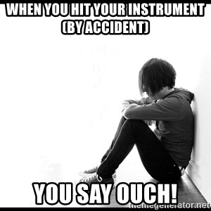 First World Problems - when you hit your instrument          (by accident) you say ouch!