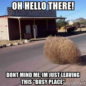 "Tumbleweed - Oh hello there! Dont mind me, im just leaving this ""busy place"""