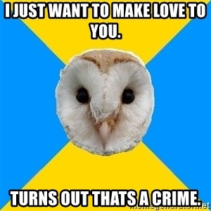 Bipolar Owl - i just want to make love to you. turns out thats a crime.