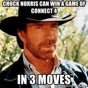 Chuck Norris Pwns - Chuck Norris can win a game of connect 4 in 3 moves