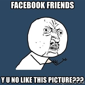 Y U No - facebook friends y u no like this picture???
