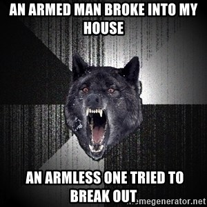 Insanity Wolf - an armed man broke into my house   an armless one tried to break out