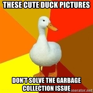Technologyimpairedduck - These cute duck pictures Don't solve the Garbage Collection Issue