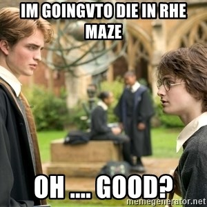 Harry Potter  - Im goingvto die in rhe maze  Oh .... good?