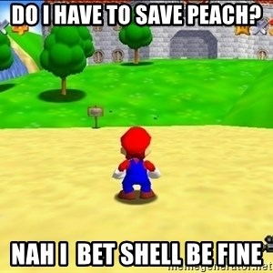 Mario looking at castle - do i have to save peach? NAH I  BET SHELL BE FINE